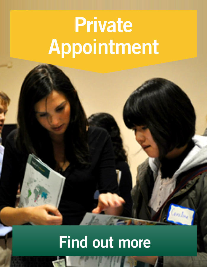 Volunteers can make private appointments to meet staff members and learn about volunteering abroad.