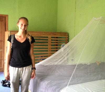 A Projects Abroad volunteers in her bedroom at her host family in Ghana.