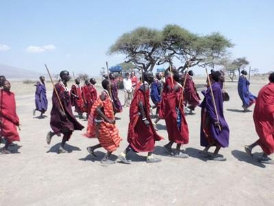 A local Maasai tribe dressed in vibrant clothing and beaded jewelry in Tanzania