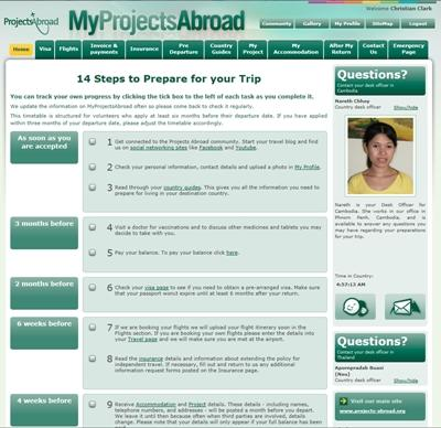 An example of a MyProjectsAbroad profile.