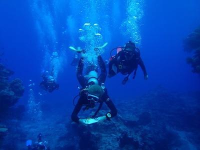 Des volontaires collectes des données lors d'une plongée en mission d'écovolontariat aux Fidji