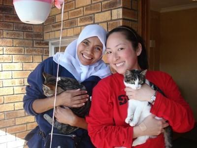 Une volontaire porte un chat lors de son voyage humanitaire auprès d'animaux à l'étranger