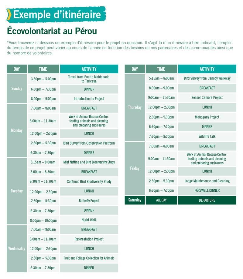 Projet d'écovolontariat au Pérou
