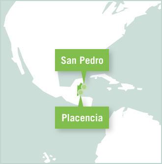 Carte des missions de volontariat au Belize