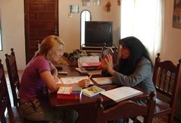 Une volontaire en cours d'anglais au Belize