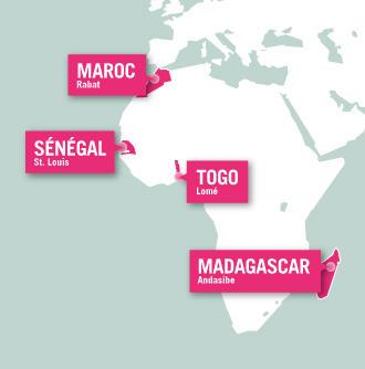 Carte des missions de volontariat en pays francophones