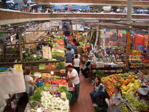 Top view of a market