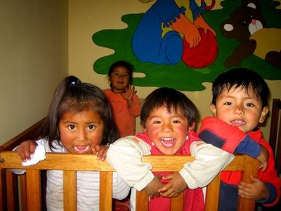 Children at a Care placement on a volunteer project in Peru