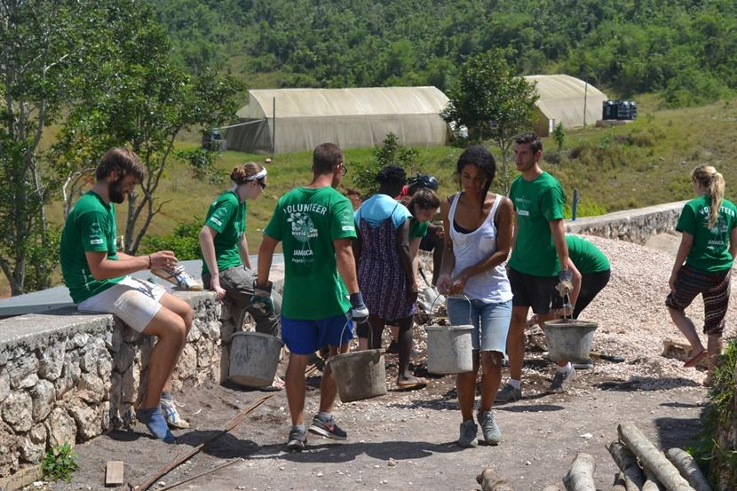 A group of Projects Abroad volunteers help upgrade facilities at a local school in Jamaica