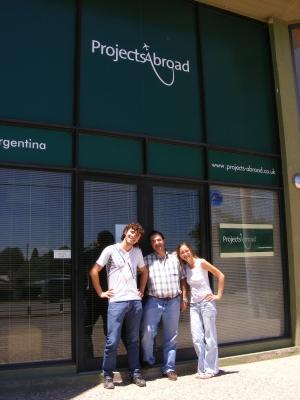 Volunteers and staff stand in front of the Projects Abroad office in Cordoba, Argentina.