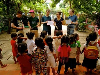 Projects Abroad volunteers teach a pre-school class in Cambodia during a service trip abroad.