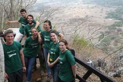 Projects Abroad volunteers enjoy the view from the Nacaome Lookout Point in Barra Honda National Park, Costa Rica