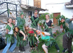Projects Abroad volunteers in Peru celebrate Halloween with homemade costumes constructed from banana leaves