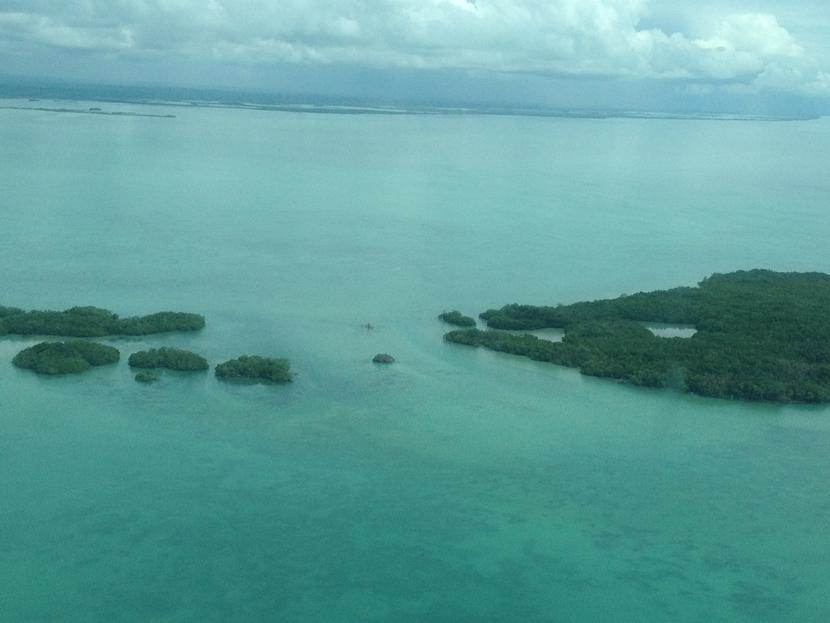 An aerial view of islands just off the coast of Placencia, Belize, where the new Diving & Marine Conservation Project will be based.