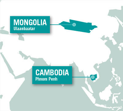 Projects Abroad is based in Ulaanbaatar in Mongolia, and Phnom Penh in Cambodia.