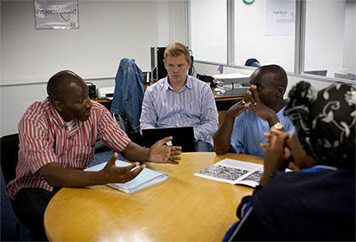 Projects Abroad Human Rights volunteer attends a mediation meeting between locals in South Africa.