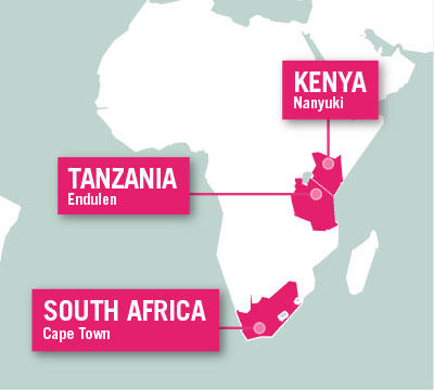 Projects Abroad is based in Endulen, Tanzania, Nanyuki, Kenya, and Cape Town, South Africa.