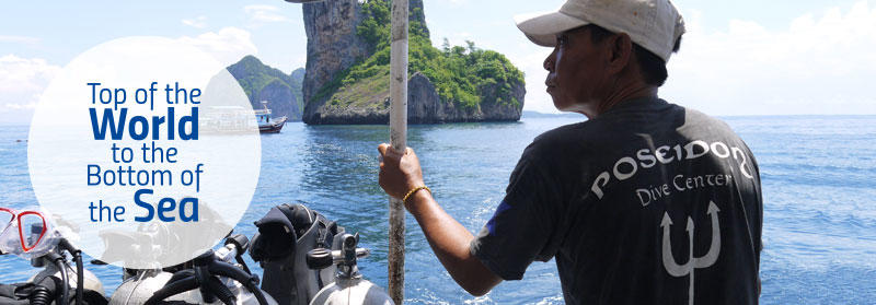 Projects Abroad conservation volunteers and staff head to a dive site off the coast of Krabi, Thailand, to conduct fish surveys.