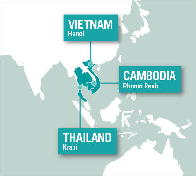 Projects Abroad is based in Hanoi, Vietnam, Phnom Penh, Cambodia, and Krabi, Thailand.