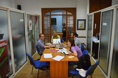 Projects Abroad Human Rights volunteers discuss a case at the office in Morocco, North Africa.