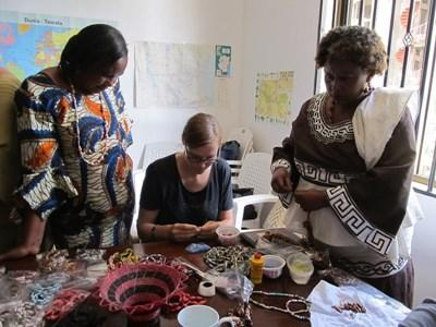 A Microfinance Intern works alongside local bussinesswomen in Africa with Projects Abroad.