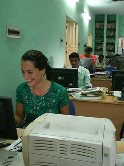 A volunteer compiles a story while on her Journalism internship in Asia.