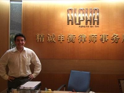 Male volunteer at the Law & Human Rights office in one of the Projects Abroad placements in Asia.