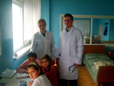 Medicine volunteers with children on their medical project placement in Moldova, Europe