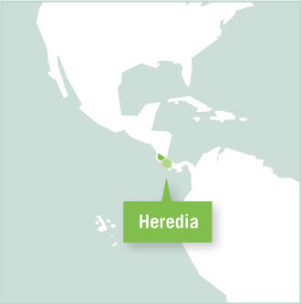 Map of volunteer placements in Heredia, Costa Rica with Projects Abroad