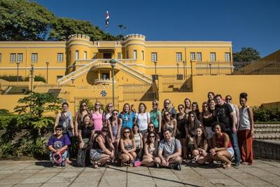 A group of Projects Abroad volunteers at a museum in Costa Rica, Central America