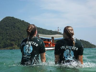 Volunteers in the ocean on the Conservation project in Cambodia with Projects Abroad