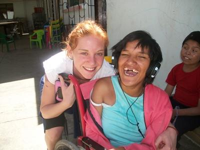 A volunteer and works with children at a special needs placement in Bolivia.
