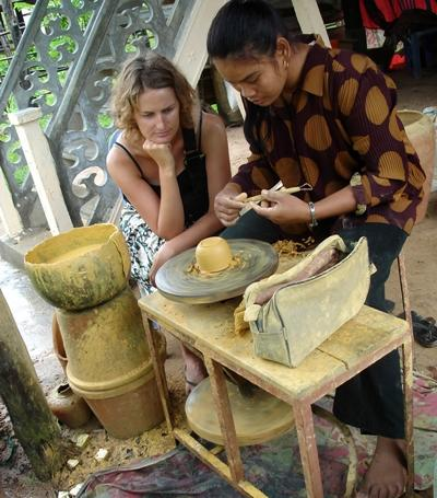 Volunteer on the Culture & Community Project observes local ceramic artist in Southeast Asia