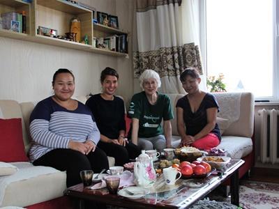 Mongolian host family in Ulaanbataar with French volunteer