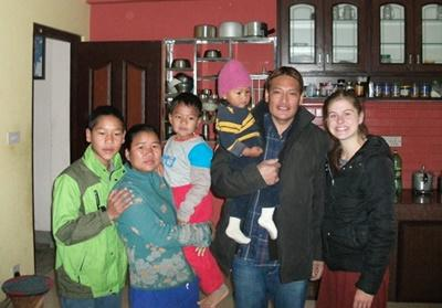 Projects Abroad volunteer in Nepal at home with her host family based in Kathmandu.