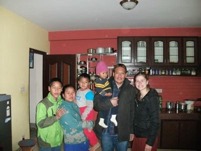 Projects Abroad Care volunteer from Australia with her host family in Kathmandu, Nepal