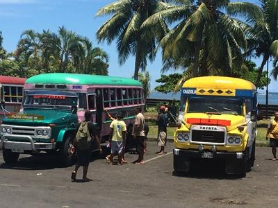 Volunteers travel on local buses in Samoa