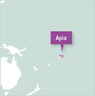 Volunteer projects destination map of Apia, Samoa