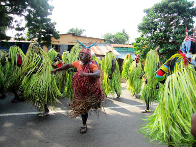 Local people participate in a traditional festival in Togo.