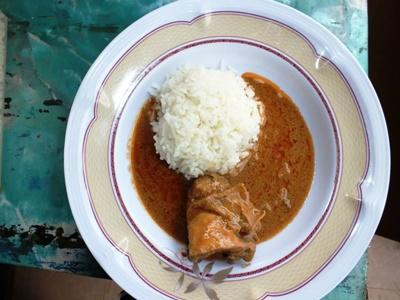Groundnut soup prepared by volunteers in Togo