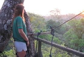 Mexico 19+ Conservation volunteer watches the sun rise from a canopy walkway in the Amazon Rainforest in Peru.