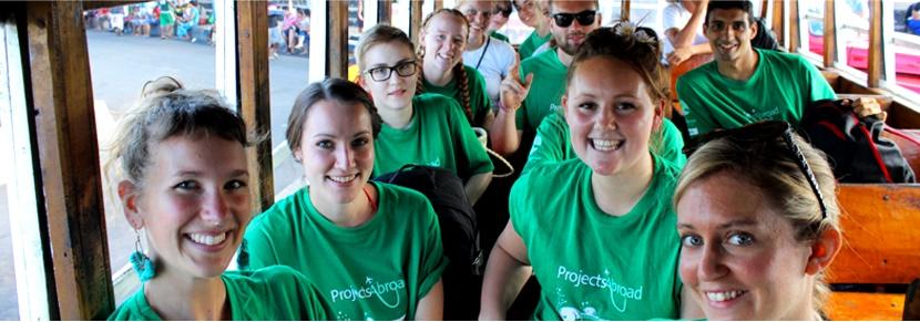 Projects Abroad volunteers travel on a group volunteer trip to a developing country.