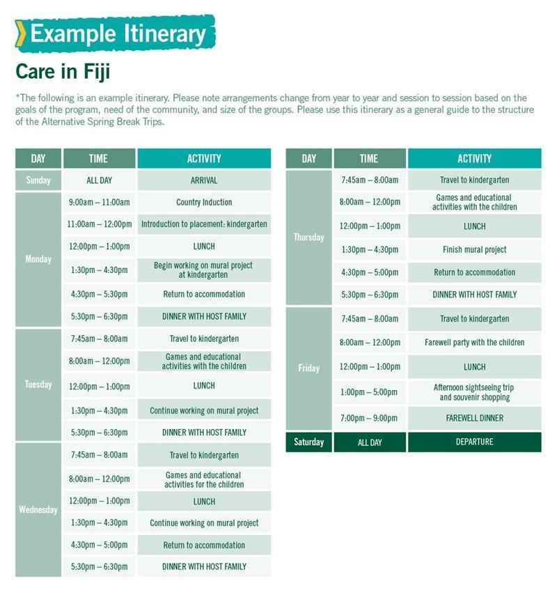 Care in Fiji Alternative Spring Break sample itinerary