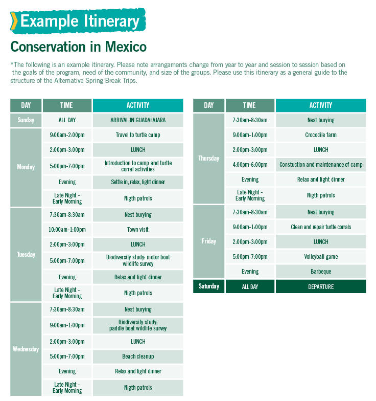 Conservation in Mexico Alternative Spring Break sample itinerary