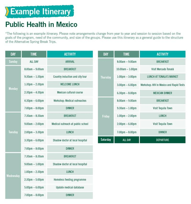 Public Health in Mexico Alternative Spring Break sample itinerary
