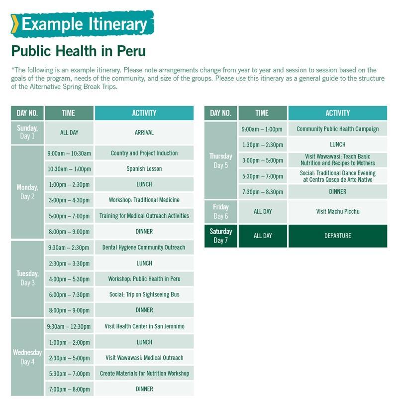 Public Health in Peru Alternative Spring Break sample itinerary