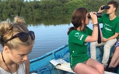 Projects Abroad Conservation volunteers conduct a bird census at a lagoon in Mexico, Latin America