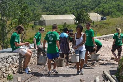 Projects Abroad volunteers help build bathroom facilities at the Old England Primary school in Jamaica