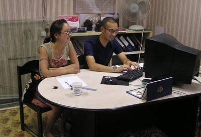 Projects Abroad interns on the Business Project in Mongolia work together in the office.