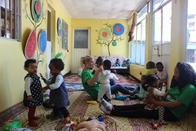 Projects Abroad volunteers help support and care for local children at a centre in Ethiopia.